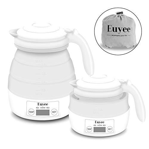 Reise Wasserkocher mit Temperatureinstellung Euyee Klein Faltbar Silikon Wasserkessel Automatisch Dual Voltage Elektrischer Wasserkocher 0.8 liter Weiß