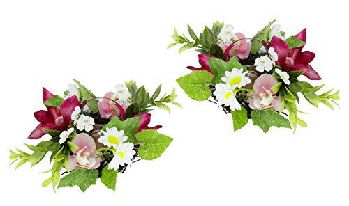 Teelichthalter / Windlicht, mit Glaseinsatz im Kranz aus Rattan, dekoriert mit künstlichen Blumen und Vogel. Kunstblumen, Dekokranz, Kerzenhalter, Frühlingskranz, Osterdeko, Teelicht, 2er Set