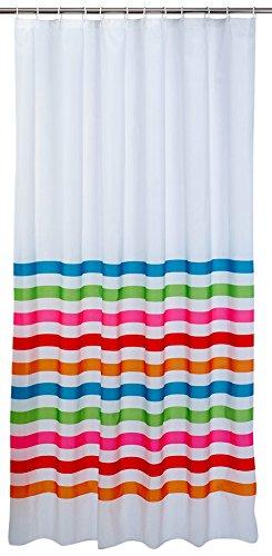 axentia Rio Duschvorhang-Badewannenvorhang-Bad inklusiv 12 Duschvorhangringe-Wannenvorhang waschbar-Vorhang für Dusche & Badezimmer, Plastik, Mehrfarbig, 180 x 200 x 0.2 cm