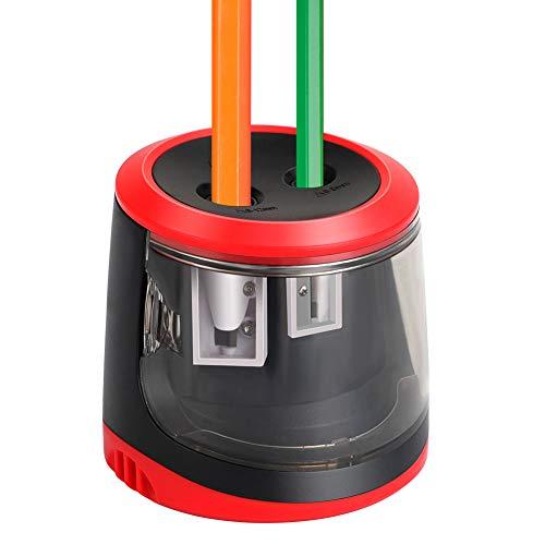Elektrischer Anspitzer,KKUYI Automatischer Bleistiftanspitzer mit Zwei Löchern,Batterie und USB betrieben,Anti-Rutsch Auto Stop,4 Ersatzmesser,profi Spitzer 2größen,Perfekt für Kinder Büro und Home