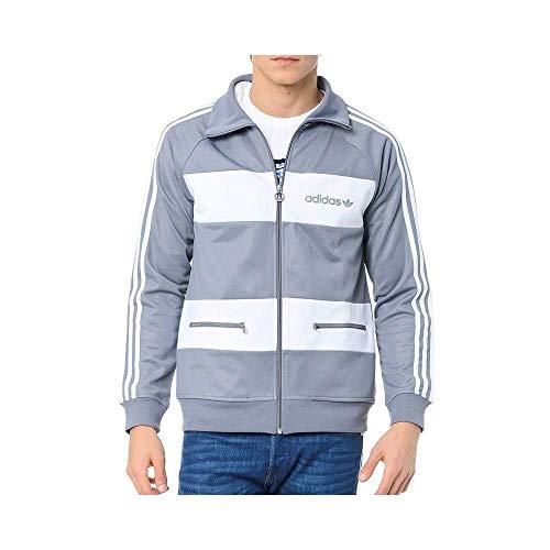 adidas Originals Beckenbauer Track Top Europa Trainingsjacke Jacke Grau Weiß, Größe:S, Farbe:Grau
