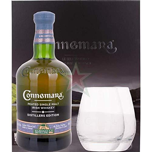 Connemara DISTILLERS EDITION Peated Single Malt Irish Whiskey mit 2 Gläsern 43,00% 0,70 Liter