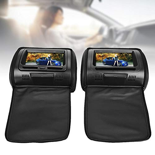 7 Inch Car Monitor, 7inch Car Digital Screen Headrest DVD Video Player Monitor with Zipper Cover for Kids Support Same/Different Video Playing/AV Out