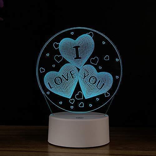 Hart en ziel creatief 3D-nachtlampje verjaardagscadeau Touch USB-adapter LED kleurrijke tafellamp