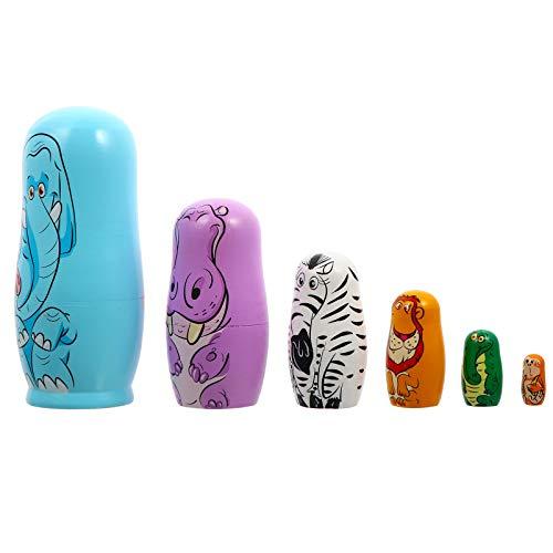 MILISTEN 6 Stücke Holz Matroschka Weihnachten Figuren Elefant Matryoshka Matrjoschka Russische Puppen Spielzeug Dekofigur Holzfiguren Tortenfigur für Baby Kinder Geschenke