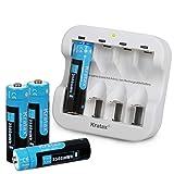 Kratax - Batería Recargable de (3500 mWh, 1,5 V, AA, 4 Pilas y 1 Cargador), Carga Rápida de 1200 Ciclos de Carga y Descarga (No para Flash)