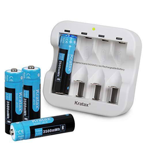Kratax 3500 mWh 1.5 V AA Batterie Ricaricabili [4 Batteria e 1 Caricatore], Ricarica Rapida 1200 cicli di Carica e Scarica (Non per il Flash)
