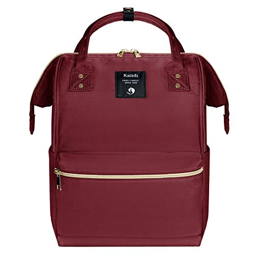 KALIDI Laptop Daypack Lightweight School Bag Casual Daypack Rucksack fits 15 inch MacBook Laptop for Boys Girls Men and Women,Burgundy