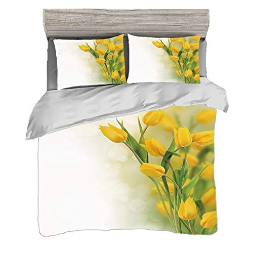 Set copripiumino (200 x 200 cm) con 2 federe Fiore giallo Biancheria da letto con stampa digitale Tulip Bouquet Romantic Famous Plant del tema botanico olandese decorativo, senape Fern Green Easy Care