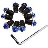 Create Idea - 10 Tornillos sólidos para Parabrisas de Motocicleta, Color Azul
