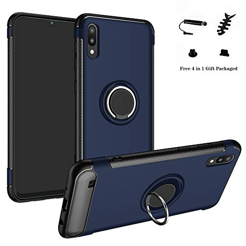 LFDZ Galaxy A10 Hülle, 360 Rotation Verstellbarer Ring Grip Stand,Ultra Slim Fit TPU Schutzhülle für Samsung Galaxy A10 / M10 2019 Smartphone (Nicht für Galaxy A20 / A30 / A50 / M20 / M30),Deep Blue