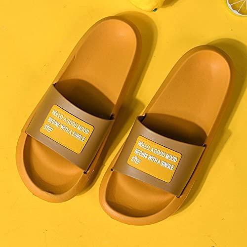 XZDNYDHGX Zapatillas Antideslizantes para Mujeres Y Hombres,Zapatillas Ligeras Antideslizantes, Mulas, Zapatos para Mujer, Parejas, hogar, baño, Ducha, toboganes, Amarillo, EU 35-36