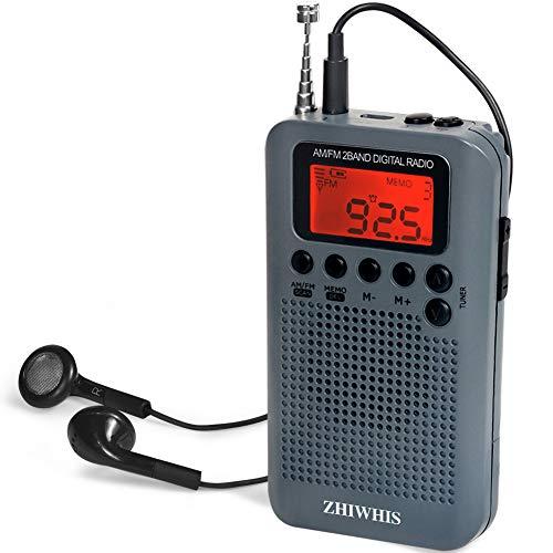 ZHIWHIS ポケットラジオ FM/AM ワイドfm対応 デジタル 小型ポータブル防災携帯 クロックラジオ 電池式 タイマー機能 チャンネル記録 スピーカーとイヤホン付き