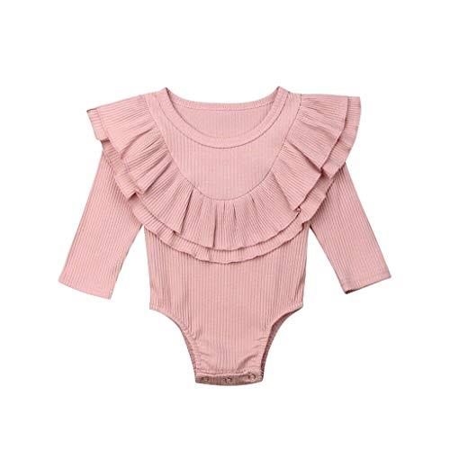 Livoral Baby Madchen Strampler Kleinkind Baby Kinder Mädchen Jungen Rüschen Geraffte Feste Strampler Bodysuit Freizeitkleidung(Rosa,80)