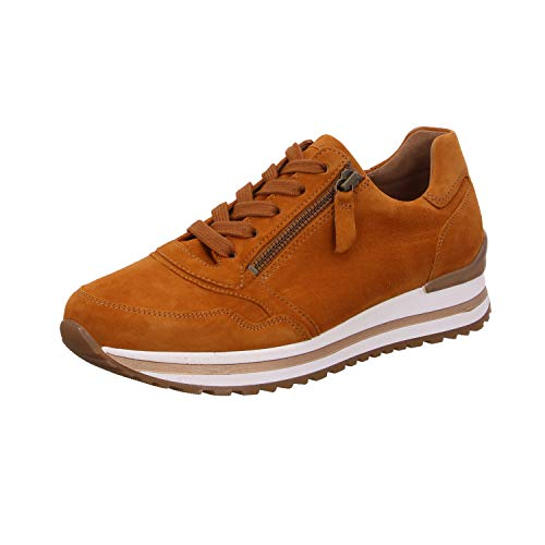Gabor Damen Low Top Sneaker low, Frauen Schnürhalbschuhe,Wechselfußbett,Mehrweite, schnürschuh sportschuh plateau-sohle,curry,38.5 EU / 5.5 UK