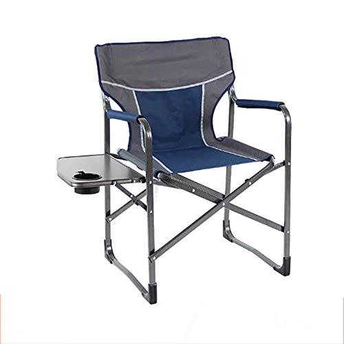 L@LILI Chaise de Camping Pliante avec Table d'appoint, Chaise de pêche en Aluminium léger en Plein air Chaise Portable Compact Yard pour Les Personnes Lourdes,B