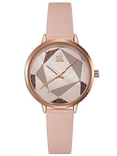 Alienwork Armbanduhr Damen Rose-Gold Lederarmband pink Perlmutt-Zifferblatt Strass-Steinen Ultra-flach