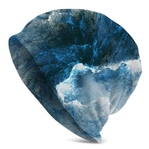 Sdltkhy Abstracto Azul Mármol Textura Fractal Fantasía Arte Digital Reloj Cap Skull Beanie Cap Hombres Sombrero de Invierno para Diario y Deportes