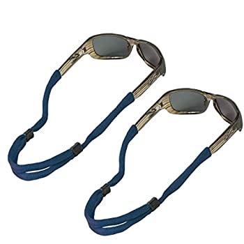 Chums No Tail Adjustable Cotton Eyeglass and Sunglass Retainer / Strap Navy Blue  2 Pack