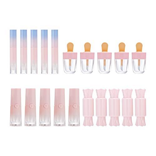 Tubo de Brillo de Labios vacío,Paquete de 20 Tubos de Brillo de Labios con Forma de Caramelo de lápiz de Helado Rosa,4 Estilos,envases de lápiz Labial de Brillo Creativo Recargables