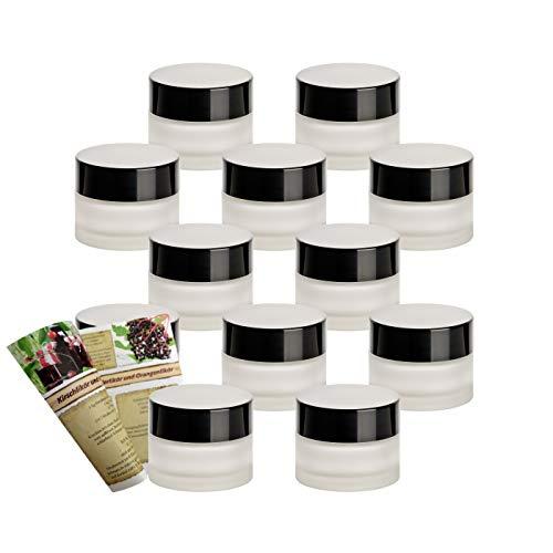 gouveo Juego de 12 tarros vacíos de 30 ml para cremas de cristal mate, incluye tapa de rosca negra y folleto (idioma español no garantizado)