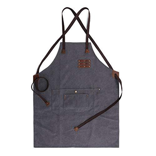 Delantal para herramientas de taller, impermeable, resistente al aceite, para estudio, pintor, artesano, ideal para cocina, jardín (guía de tamaños; color: gris)