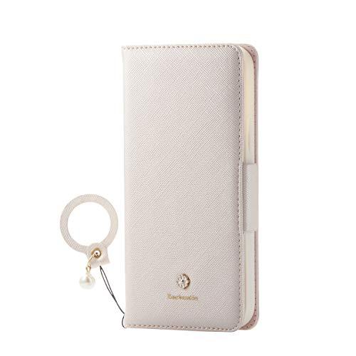 エレコム iPhone 12 / 12 Pro ケース ソフトレザー 女子向 磁石付 リング付 ホワイト PM-A20BPLFJM2WH