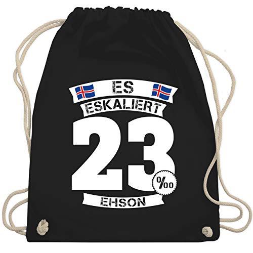 Shirtracer Party & Alkohol Herren - Es eskaliert ehson - Unisize - Schwarz - Junggesellen-Abschied - WM110 - Turnbeutel und Stoffbeutel aus Baumwolle