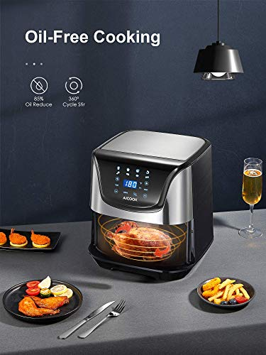 Air Fryer, 1700W 5.8Qt Airfryer Oven with Crisp Taste, for Roasting/Baking/Grilling/Dehydrating, Reheat, Auto Shut Off, Dishwasher-Safe, Recipe