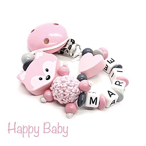 Schnullerkette mit Namen für Junge & Mädchen | VIELE INDIVIDUELLE MODELLE | Personalisierte Nuckelkette mit Wunschnamen (rosa, fuchs, herz)
