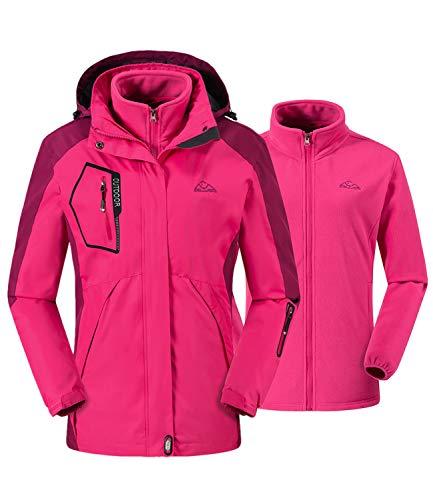Donhobo Damen 3-in-1-Jacke, Fleece, Softshell-Winterjacke, wasserdicht, durchgehender Reißverschluss, winddicht, mit Reißverschlusstaschen XL rose