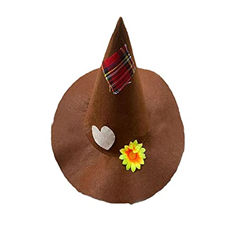 HUANGA 1 pièces Chapeau de sorcière pour Femme pour Accessoire de déguisement d'halloween déguisement d'épouvantail d'halloween Accessoires d'épouvantail en Feutre pour Les Filles (Marron)