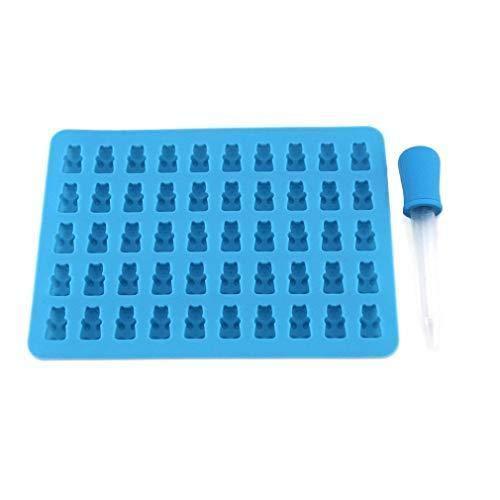 Jeffyo DIY Süßigkeit Silikonform 50 Mini Gummibärchen Form, Bonbonsform, Schokoladeform, Eiswürfel Form, Seifen Formen mit Pipetten Tropfenzähler (Blau)