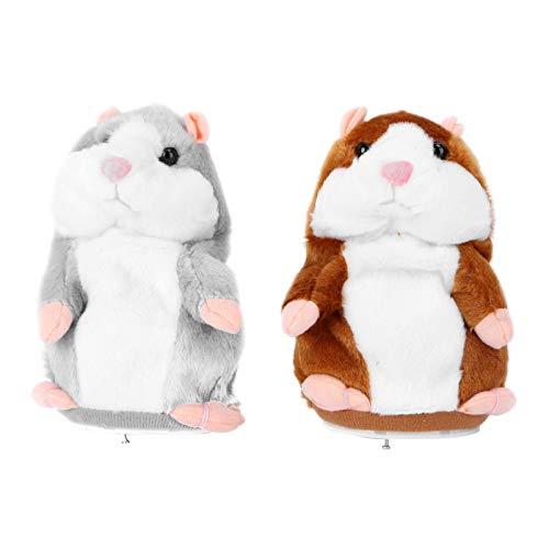 STOBOK 2 Stück sprechender Hamster Maus Plüschtier Nach Sagen plüsch Hamster wiederholt was du sagst Talking Hamster Interaktives Spielzeug für Kinder Jungen Mädchen Geburtstag Geschenk 16CM