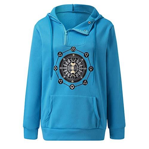 TYTUOO Damen Sweatshirt Fashion Langarm Herbst und Winter Print Cotton Hoodies Pullover
