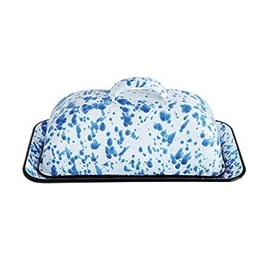 Creative Co-Op DA7744 Blue Splatterware Metal Butter Dish with Lid