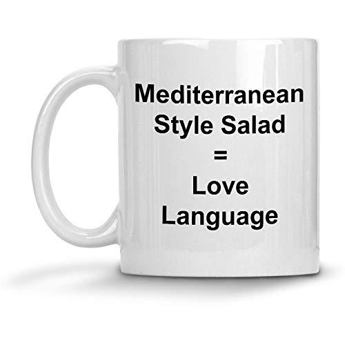 N\A Ensalada de Estilo mediterráneo = Taza Love Language - Taza de café con Leche de 11 oz