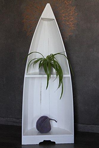 Naturesco Exotisches Bootsregal Regal Boot massiv Holz weiß 95cm