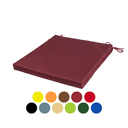 STYLE4HOME Waterproof Patio Chair Cushions with Seat Ties | Indoor and Outdoor Furniture Seating | Water-Resistant Polyester | Kitchen Dining, Lawn & Garden, Coffee Shop Use | Dark red