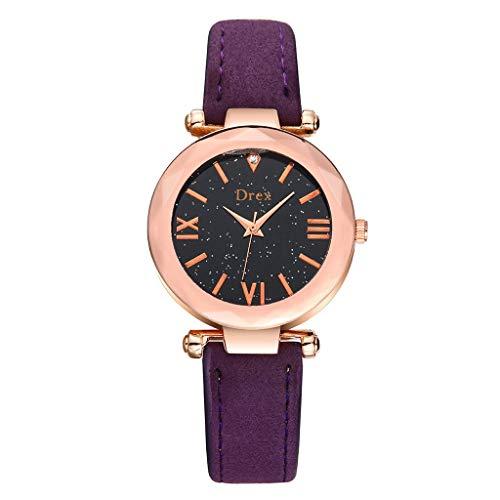 HBR Reloj Las Mujeres aleación y Cristal acentuó el Reloj Pulsera Delgado Pista Casual de Cuero del Cuarzo de Las Mujeres de Tres Reloj de la Mano Accesorios de Moda (Color : Purple)