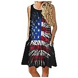 KPKP Womens Summer Floral Print Sleeveless Sundress/Short Sleeve Pockets Casual Loose Swing T-Shirt Dress