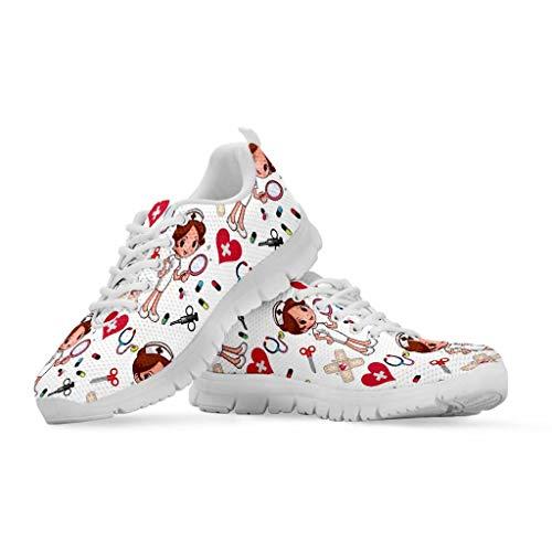chaqlin Infermiera Sneakers Bianco Donna Casual Scarpe Basse Scarpe estive Mesh comode Scarpe da Donna Donna Ragazze Carine Calzature Taglia EU38