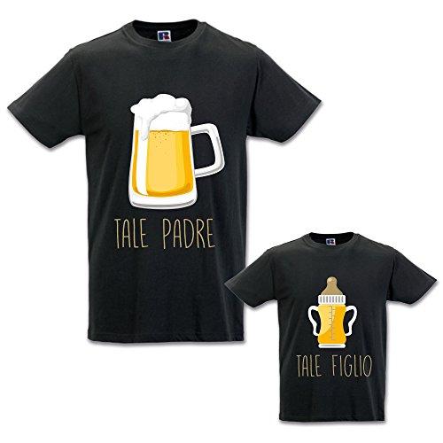 Coppia di T-Shirt Magliette Papa' E Figlio/Figlia Idea Regalo Festa del Papa' Tale Padre Tale Figlio - Birra Nere Uomo XXL - Bimbo 1-2 Anni