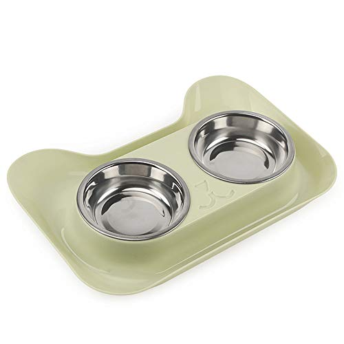 ZHU IN SY Cute Cat Bowl Non-Slip Pet Bowls Dog Food Double Bowl Pet Cat Water Elevated Feeder (Green)