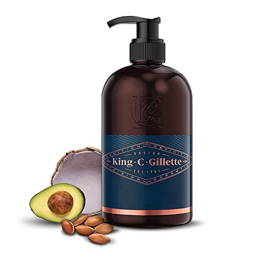 King C. Gillette Gel para Barba y Rostro Hombre con Agua de Coco, Aceite de Argán y Aceite de Aguacate, 350 ml