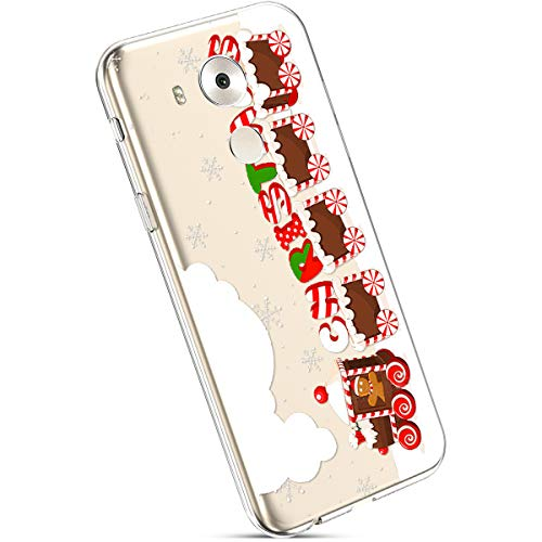 Ysimee Coque Huawei Mate 8 Noël, Étui Housse en Silicone Transparent avec Motif Christmas Ultra Léger et Mince Crystal Clear TPU Flexible Soft Touch Skin Coque pour Huawei Mate 8,Train