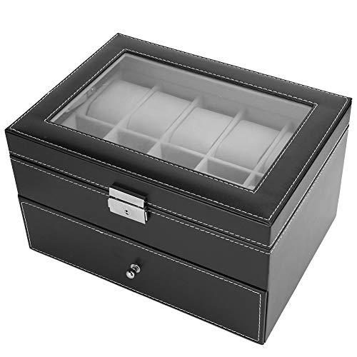 WYLZLIY-Home Uhrenbox Uhrenaufbewahrung Uhrenkoffer Doppelschicht Uhrenbox Fall 20 Gitteruhr Aufbewahrungskoffer Watch Box Container Watch Box-Schubladen Für Uhr, Manschettenknöpfe Und Ringe