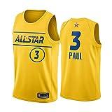 XZDM Camiseta De Baloncesto Chris Paul # 3 Phoenix Suns, Uniforme De Baloncesto del Equipo Lebron De La Nueva Temporada All-Star 2021 para Hombre, Camiseta Sin Mangas De Yellow-M