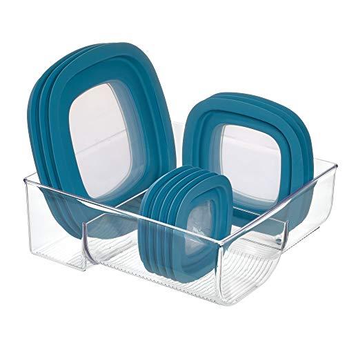 InterDesign Binz Organizador de cajones para cubiertas, caja organizadora en plástico para guardar tapas de contenedores plásticos, transparente