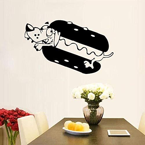 Lamubh Hot Dog Etiqueta de la Pared de la Cocina Ventana de la decoración de la Pared Fast Food Restaurant Logo Sticker 93x57 cm